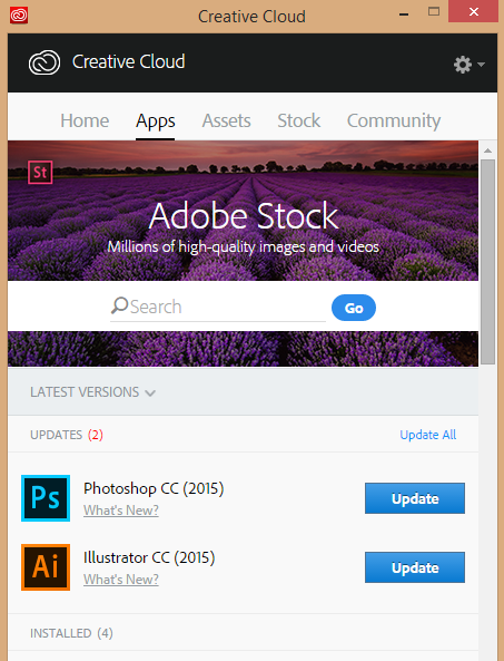 Adobe Creative Cloud app with updates for Adobe products