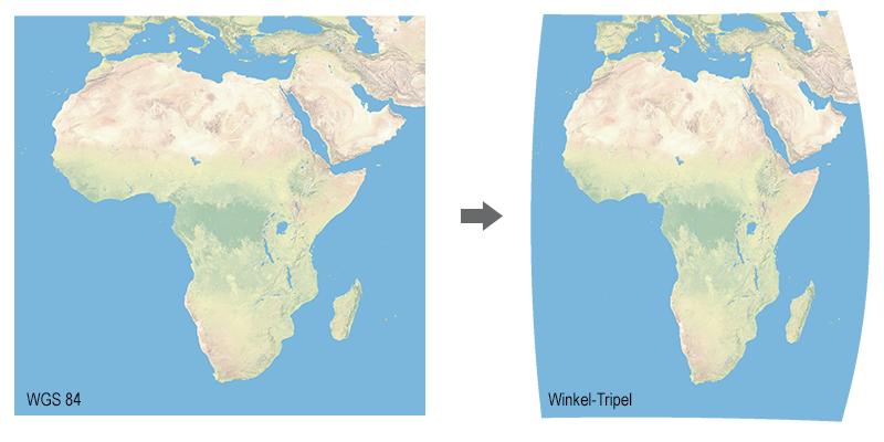 Image transformed from WGS 84 to the Winkel-Tripel projection.